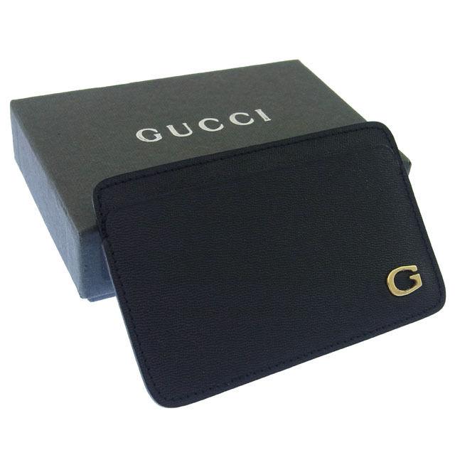 【中古】 グッチ GUCCI カードケース カード パスケース レディース ブラック×ゴールド T15744