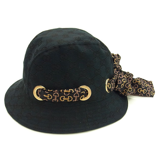 【中古】 グッチ GUCCI 帽子 ハット レディース ビット柄リボン付き GG柄 ブラック×ゴールド系 PE/68%C/30%RY/2%(裏地)C/100% (あす楽対応)人気 美品 Y903 .