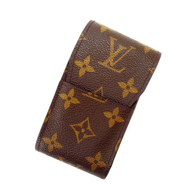 【中古】 ルイヴィトン Louis Vuitton シガレットケース タバコケース /メンズ可 /エテュイシガレット モノグラム M63024 ブラウン PVC×レザー (あす楽対応)人気 良品 Y988 .