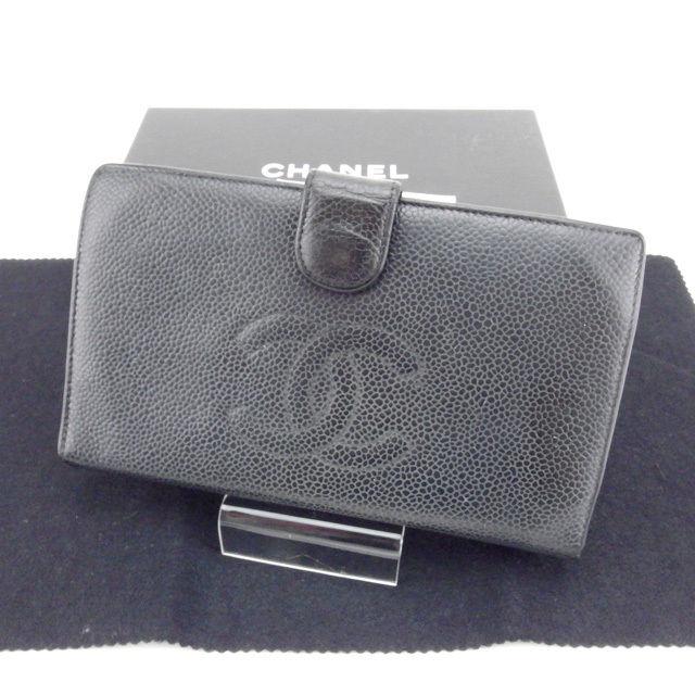 【中古】 シャネル CHANEL 長財布 がま口 二つ折り メンズ可 キャビアスキン A13498 ブラック×ゴールド キャビアスキン (あす楽対応)人気 Y3406 .