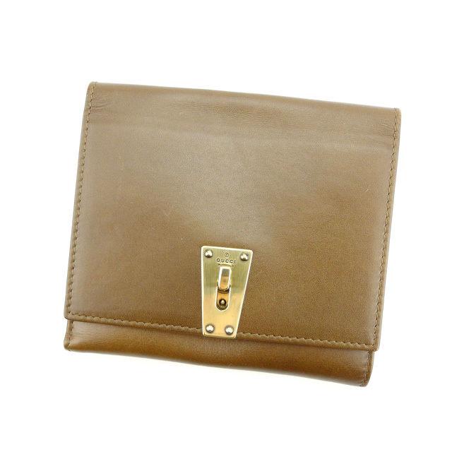 【中古】 グッチ GUCCI Wホック財布 二つ折り コンパクトサイズ メンズ可 90619 ブラウン×ゴールド レザー (あす楽対応)人気 Y3416 .