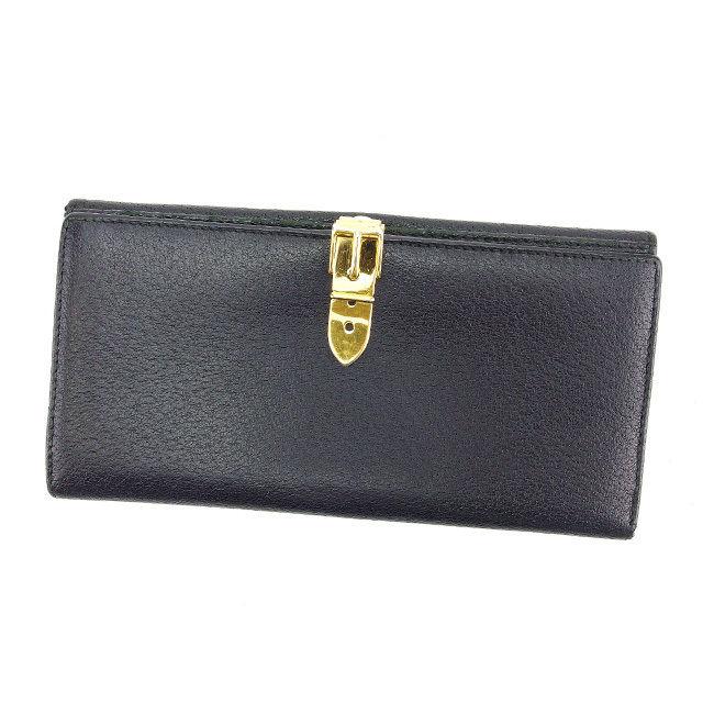 【中古】 グッチ GUCCI 長財布 Wホック 二つ折り メンズ可 ブラック×ゴールド レザー (あす楽対応)人気 Y3423 .