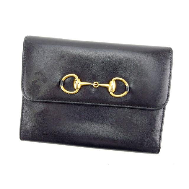 【中古】 グッチ GUCCI 三つ折り財布 がま口 中長財布 メンズ可 ブラック×ゴールド カーフレザー (あす楽対応)人気 Y3432 .