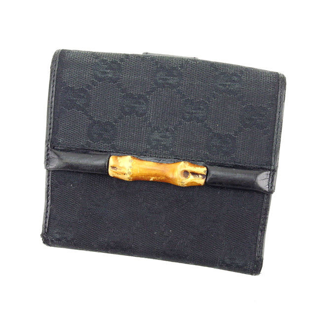 【中古】 グッチ GUCCI Wホック財布 二つ折り コンパクトサイズ メンズ可 バンブー GGキャンバス 112521 ブラック×ナチュラル キャンバス×レザー×バンブー (あす楽対応)人気 Y3433 .