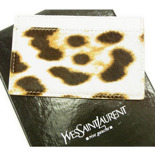 【中古】 イヴサンローラン YVES SAINT LAURENT カードケース パスケース レディース ライトベージュ×ブラウン T10803