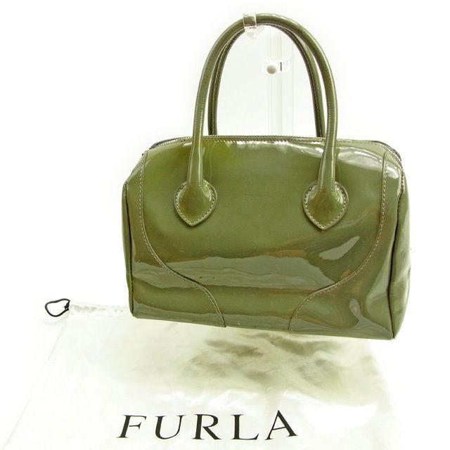 【中古】 フルラ FURLA ハンドバッグ レディース ロゴチャーム モスグリーン×シルバー 人気 Y3483 .