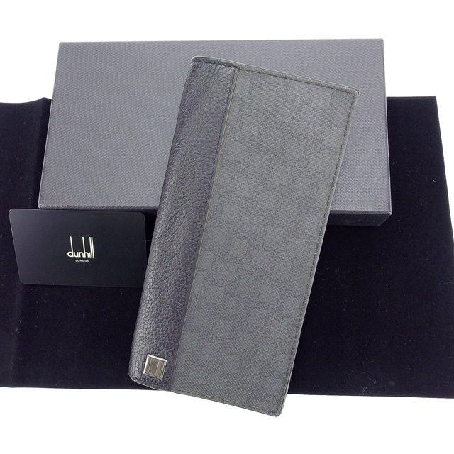 【中古】 ダンヒル dunhill 長財布 ファスナー 二つ折り メンズ ロゴプレート付き Dエイトシリーズ グレー×ブラック×シルバー 良品 Y3491