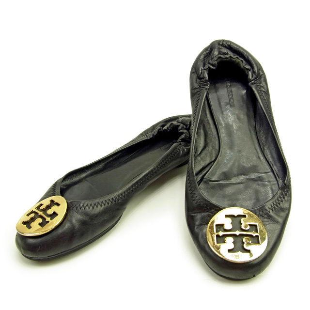 【中古】 トリバーチ Tory Burch パンプス シューズ 靴 レディース バレエ フラット ロゴプレート ブラック×ゴールド 人気 Y3492 .