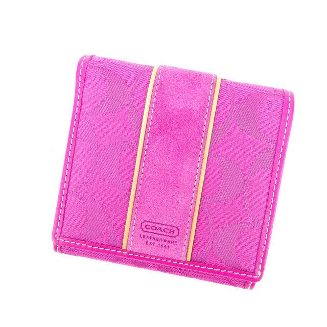 【中古】 コーチ COACH Wホック財布 二つ折り コンパクトサイズ レディース シグネチャー ピンク×ベージュ 良品 Y3498 .