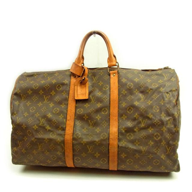 【中古】 ルイヴィトン Louis Vuitton ボストンバッグ トラベルバッグ レディース キーポル55 モノグラム ブラウン PVC×レザ- 人気 Y3562 .