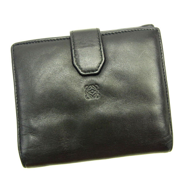 【中古】 ロエベ LOEWE Wホック財布 二つ折り コンパクトサイズ レディース アナグラム ブラック 人気 Y3584 .