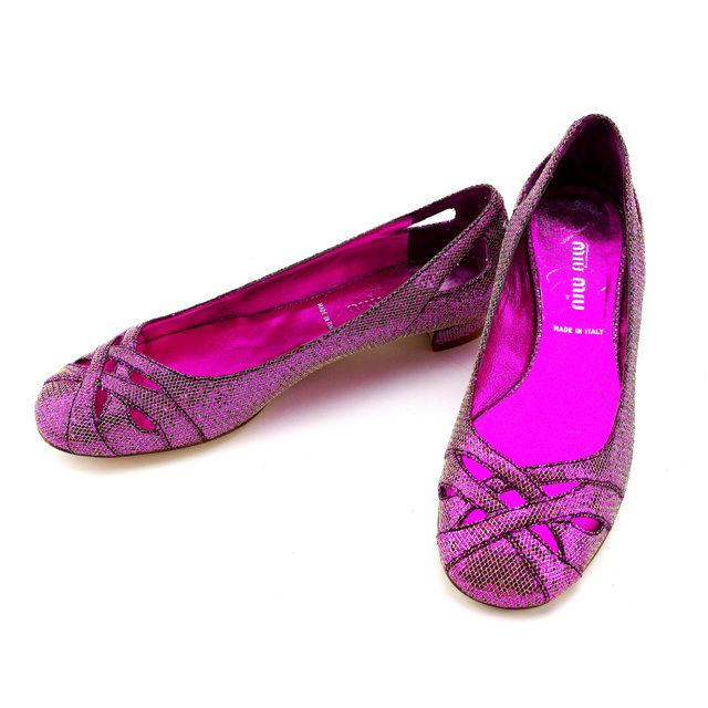 【中古】 ミュウミュウ miumiu パンプス シューズ 靴 レディース ♯34ハーフ グリッター クロスデザイン 36B-5F2731 ピンク×ゴールド レザー (あす楽対応)人気 Y3687 .