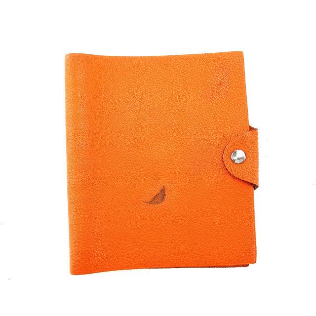 【中古】 エルメス HERMES 手帳カバー アジェンダ メンズ可 ユリスMM オレンジ×シルバー レザー (あす楽対応)人気 Y3702