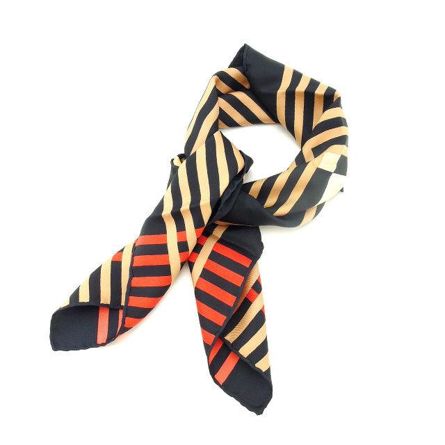 【中古】 クリスチャン ディオール Christian Dior スカーフ 大判サイズ レディース ブラック×ベージュ×レッド T12905