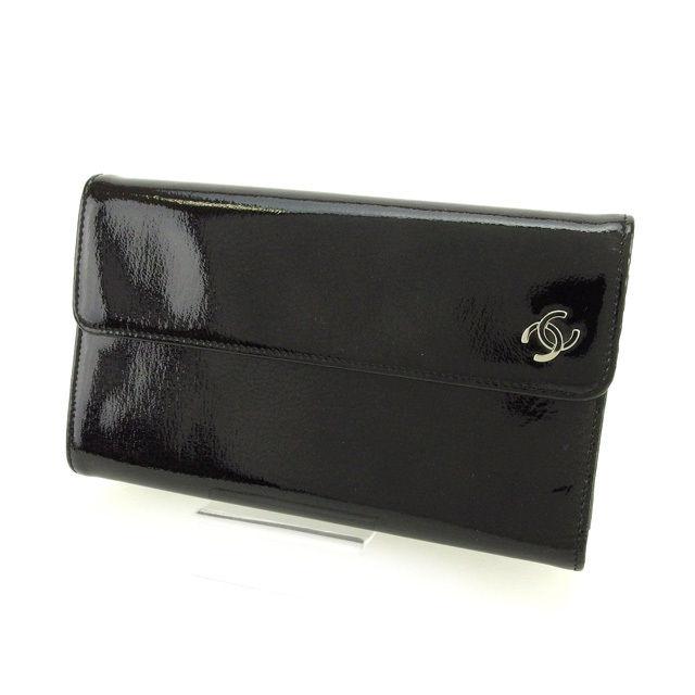 f15e84d4e425 【中古】 シャネル CHANEL 長財布 三つ折 メンズ可 ココマーク ブラック エナメルレザー