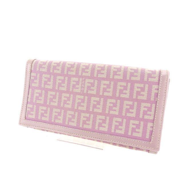 【中古】 フェンディ FENDI 二つ折り長財布 レディース ズッキーノ ピンク系 良品 Y3725