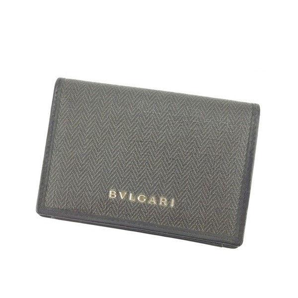【中古】 ブルガリ BVLGARI 名刺入れ カードケース 男女兼用 ブラック×グレー PVC×レザー (あす楽対応)良品 Y3748 .
