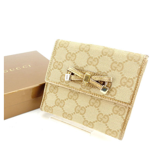 【中古】 グッチ Gucci 二つ折りWホック財布 レディース GGキャンバス ベージュ×ゴールド 良品 Y3758 .