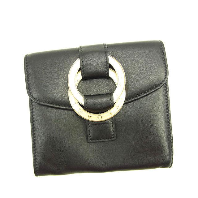 【中古】 ブルガリ BVLGARI 三つ折り財布 コンパクトサイズ メンズ可 ダブルロゴリング ブラック×ゴールド系 美品 Y3789