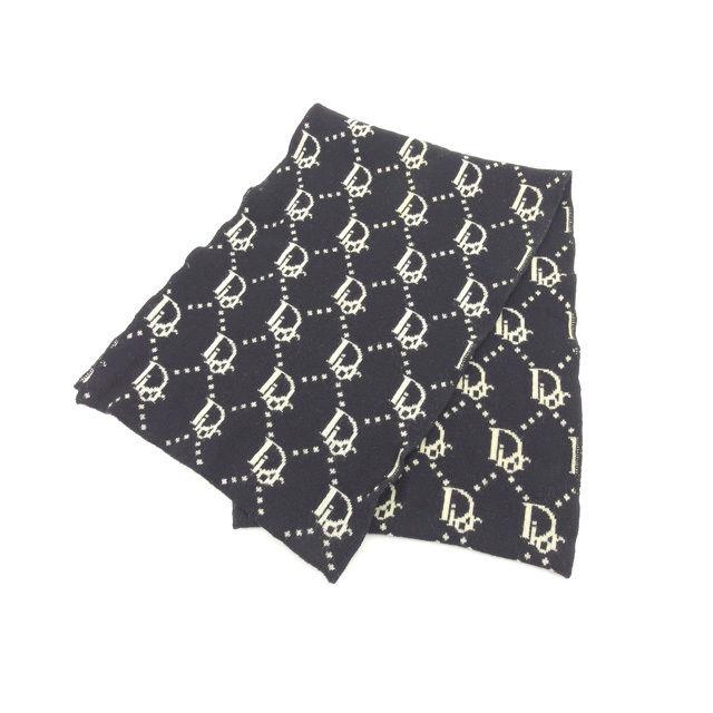 【中古】 クリスチャン ディオール Christian Dior マフラー レディース ブラック×ベージュ T15656