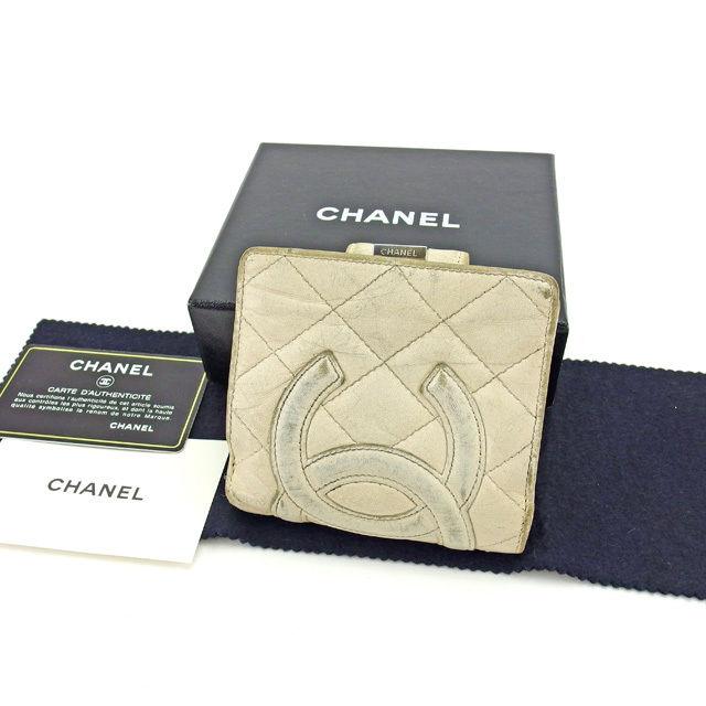 【中古】 シャネル CHANEL 二つ折り財布 がま口 レディース カンボンライン ホワイト×シルバー 人気 Y3842 .