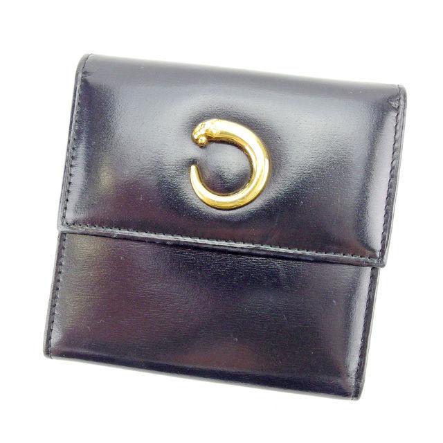 【中古】 カルティエ Cartier 二つ折り財布 レディース パンテール ブラック×ゴールド 人気 Y3878 .