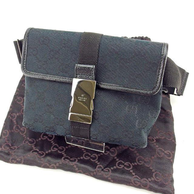 48719c58d6f4 Gucci GUCCI bum-bag waist porch Lady's GG canvas black X silver quality  goods sale Y3908