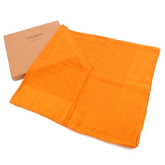 【中古】 ルイヴィトン Louis Vuitton スカーフ 大判サイズ レディース カレモナコ モノグラム オレンジ 美品 Y3922 .