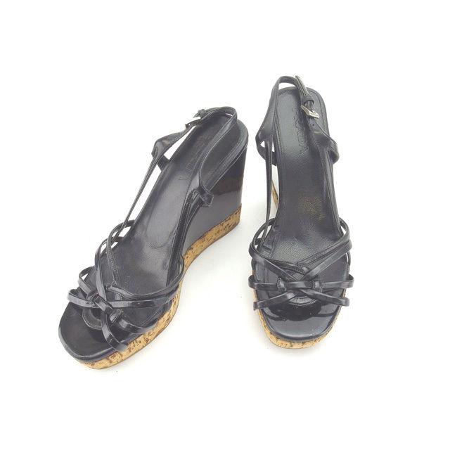 【中古】 プラダ PRADA サンダル シューズ 靴 レディース ♯35ハーフ ウェッジソール ブラック×ナチュラル レザー×コルク (あす楽対応)人気 Y3949 .