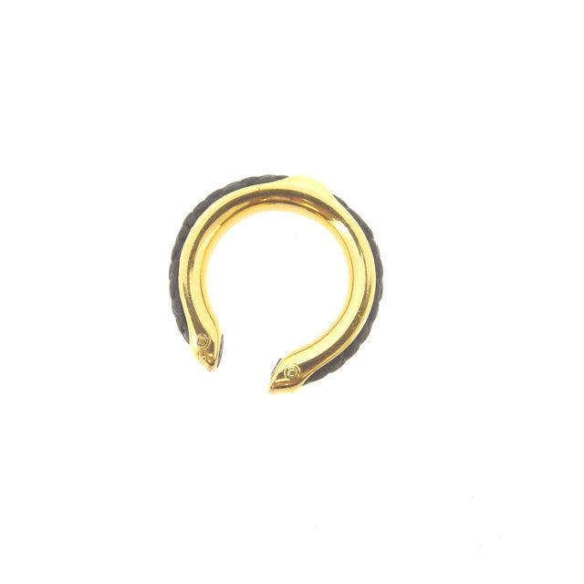 【中古】 エルメス HERMES 指輪 リング アクセサリー 男女兼用 ♯7号 レザー ブラック×ゴールド レザー×ゴールド素材 (あす楽対応)人気 Y3991 .