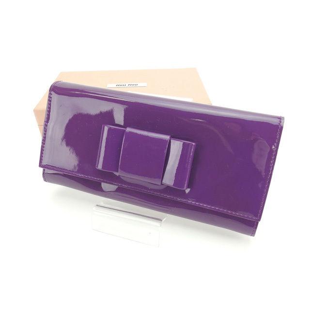 【中古】 ミュウミュウ miu miu 長財布 ファスナー付き長財布 レディース 5M1109 パープル×ゴールド パテントレザー (あす楽対応)良品 Y3998 .
