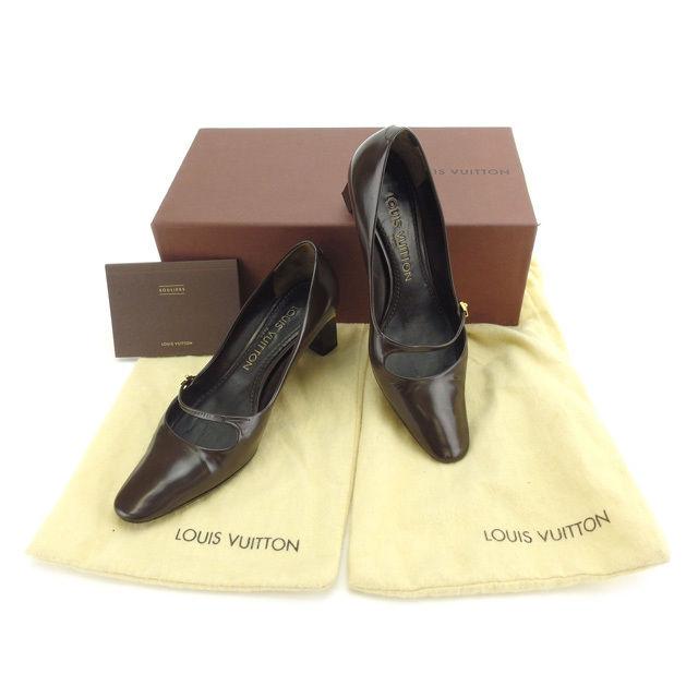 【中古】 ルイヴィトン LOUIS VUITTON パンプス シューズ 靴 レディース ♯34 ブラウン×ゴールド レザー (あす楽対応)人気 Y4016 .