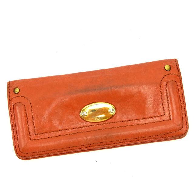 【ファッションセール】 【10%オフ】 クロエ 長財布 ファスナー付き長財布 オレンジ レザー Chloe 長サイフ サイフ