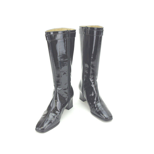 【中古】 イヴサンローラン Yves Saint Laurent ブーツ ロング シューズ 靴 レディース ♯36 スクエアトゥ ブラック×ゴールド エナメルレザー (あす楽対応) Y4062 .