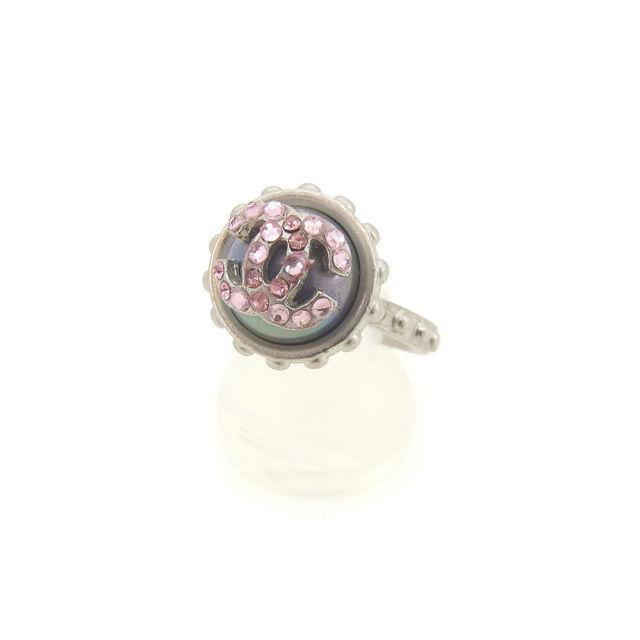 【中古】 シャネル CHANEL 指輪 ラインストーン付き リング レディース ♯13号 ヴィンテージ シルバー×ピンク 人気 Y4102 .