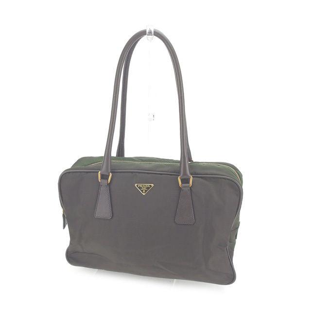91622625db5faa Prada PRADA handbag shoulder bag man and woman combined use logo plate  BL0106 brown X khaki X gold nylon canvas X leather (correspondence)  popularity sale ...