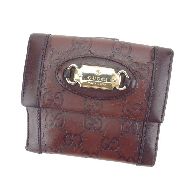 【中古】 グッチ GUCCI Wホック財布 二つ折り財布 男女兼用 グッチシマ 145747 ブラウン×ゴールド レザー (あす楽対応)人気 Y4116 .