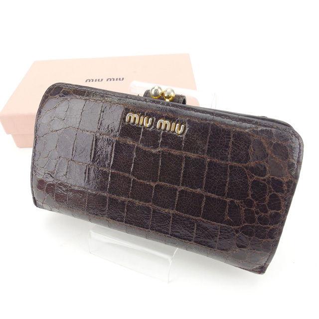【中古】 ミュウミュウ miumiu 長財布 がま口 レディース クロコダイル調 5M1120 ブラウン×ゴールド 型押しレザー (あす楽対応)人気 Y4133 .