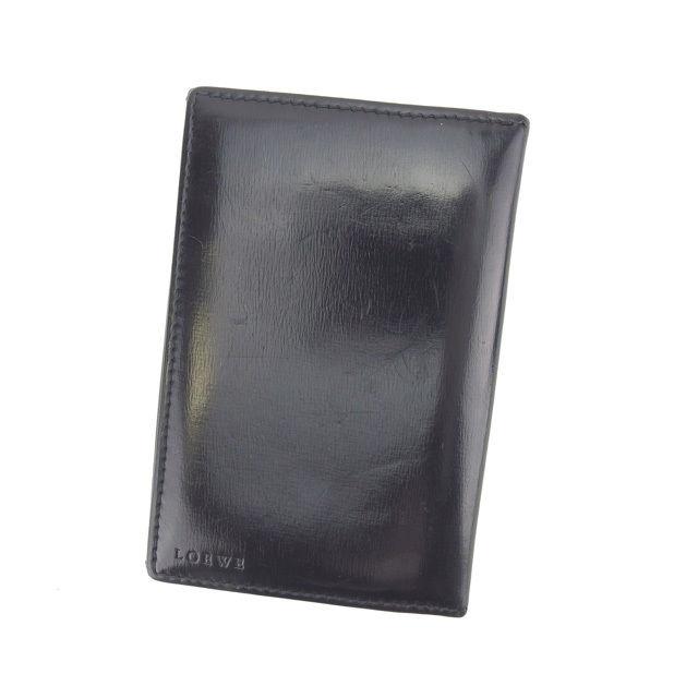 【中古】 ロエベ LOEWE カードケース 名刺入れ レディース ブラック T11199 .