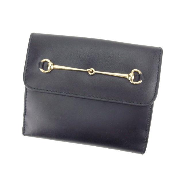 【中古】 グッチ GUCCI Wホック財布 二つ折り財布 男女兼用 ホースビット ブラック×ゴールド レザー (あす楽対応)良品 Y4177 .