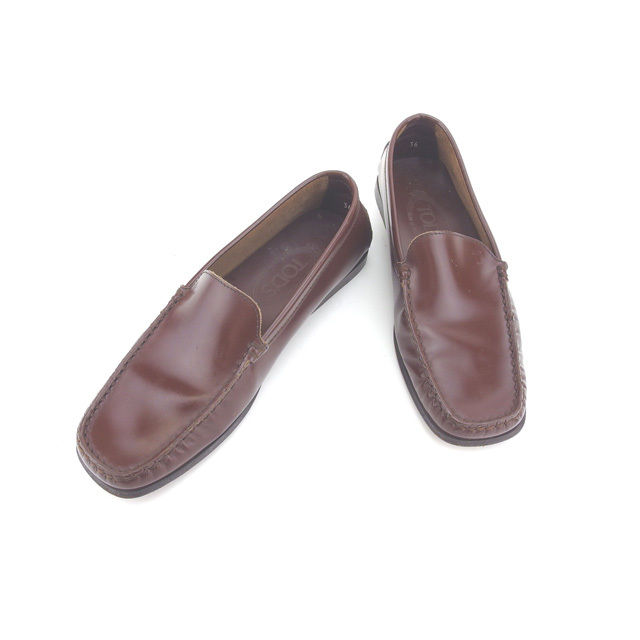 【中古】 トッズ TOD'S ローファー シューズ 靴 レディース ♯36 ロゴモチーフ ブラウン×ブラック レザー (あす楽対応)人気 Y4224 .