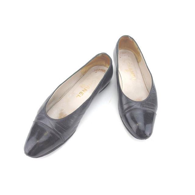 【中古】 シャネル CHANEL パンプス シューズ 靴 レディース ♯35 ラウンドトゥ ブラック レザー (あす楽対応)人気 Y4226 .