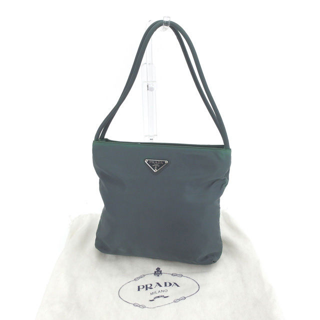 9d259819be8b ... discount prada prada tote bag shoulder bag ladys logo plate b6243 dark  green x black system