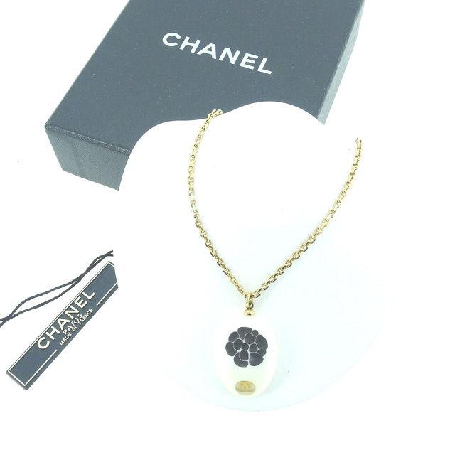 【中古】 シャネル CHANEL ネックレス アクセサリー レディース ココマーク ホワイト×ブラック×ゴールド GP×プラスティック (あす楽対応)良品 Y4376