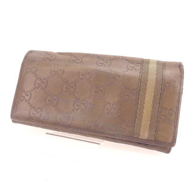 4dc85a35ea7 Long wallet man and woman combined use Gucci sima khaki leather  (correspondence) popularity sale Y4381 with the Gucci GUCCI long wallet  fastener