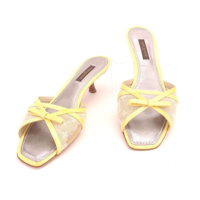 【中古】 ルイヴィトン Louis Vuitton ミュール シューズ 靴 #34 1/2 モノグラムミニ デュンヌ(ベージュ) ×イエロー キャンバス×レザー (あす楽対応)人気 Y4387 .