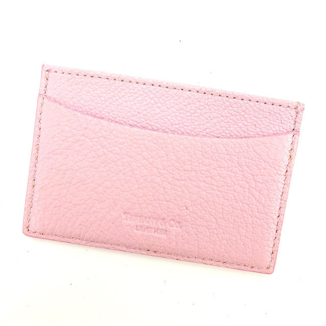 【中古】 ティファニー Tiffany&Co カードケース 名刺入れ レディース ピンク レザー (あす楽対応)中古 Y4422 .