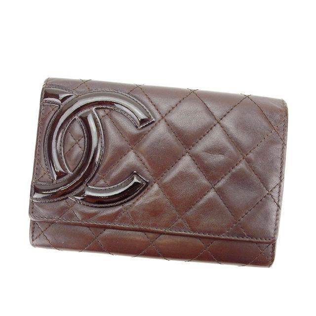 【中古】 シャネル CHANEL 二つ折り財布 メンズ可 カンボンライン ブラウン×ブラック レザー (あす楽対応)人気 Y4431 .