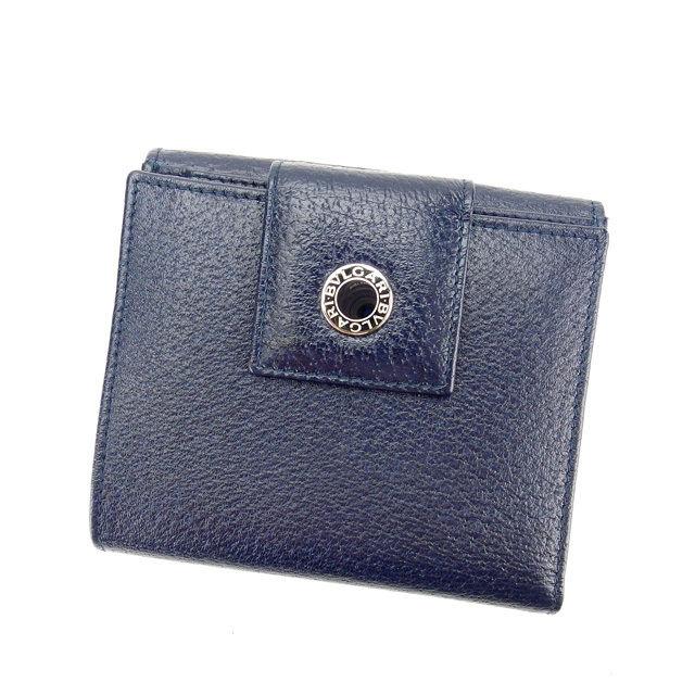 【中古】 ブルガリ BVLGARI Wホック財布 二つ折り財布 レディースメンズ可 ブルガリ ブルガリ ネイビー レザー (あす楽対応)良品 Y4442 .