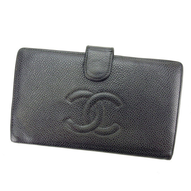 【中古】 シャネル CHANEL がま口財布 二つ折り財布 メンズ可 キャビアスキン 6751607 ブラック レザー (あす楽対応)人気 Y4453 .